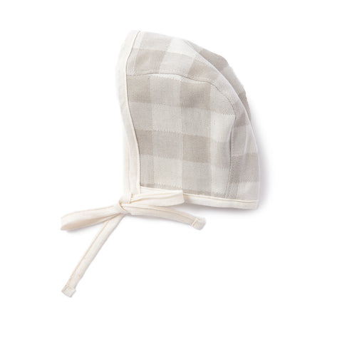 Woodhouse Check Baby Bonnet Fawn