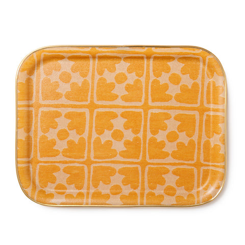 Bloom Large Rectangle Tray - Mustard