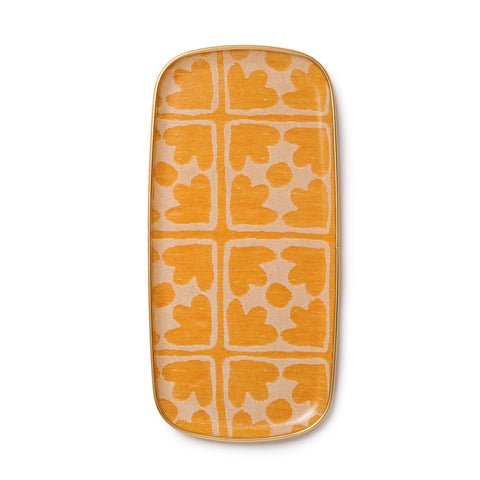 Bloom Small Rectangle Tray - Mustard