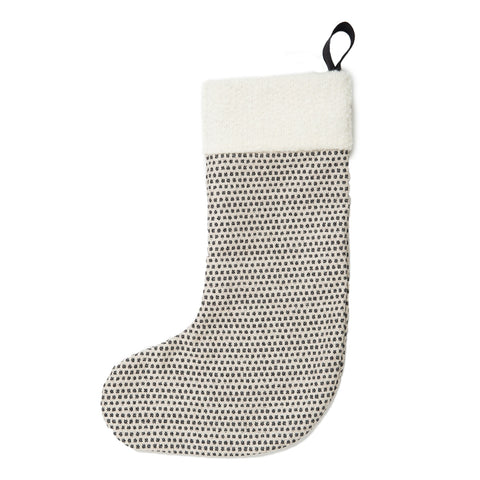 Classic Clarendon Christmas Stocking Black on Linen