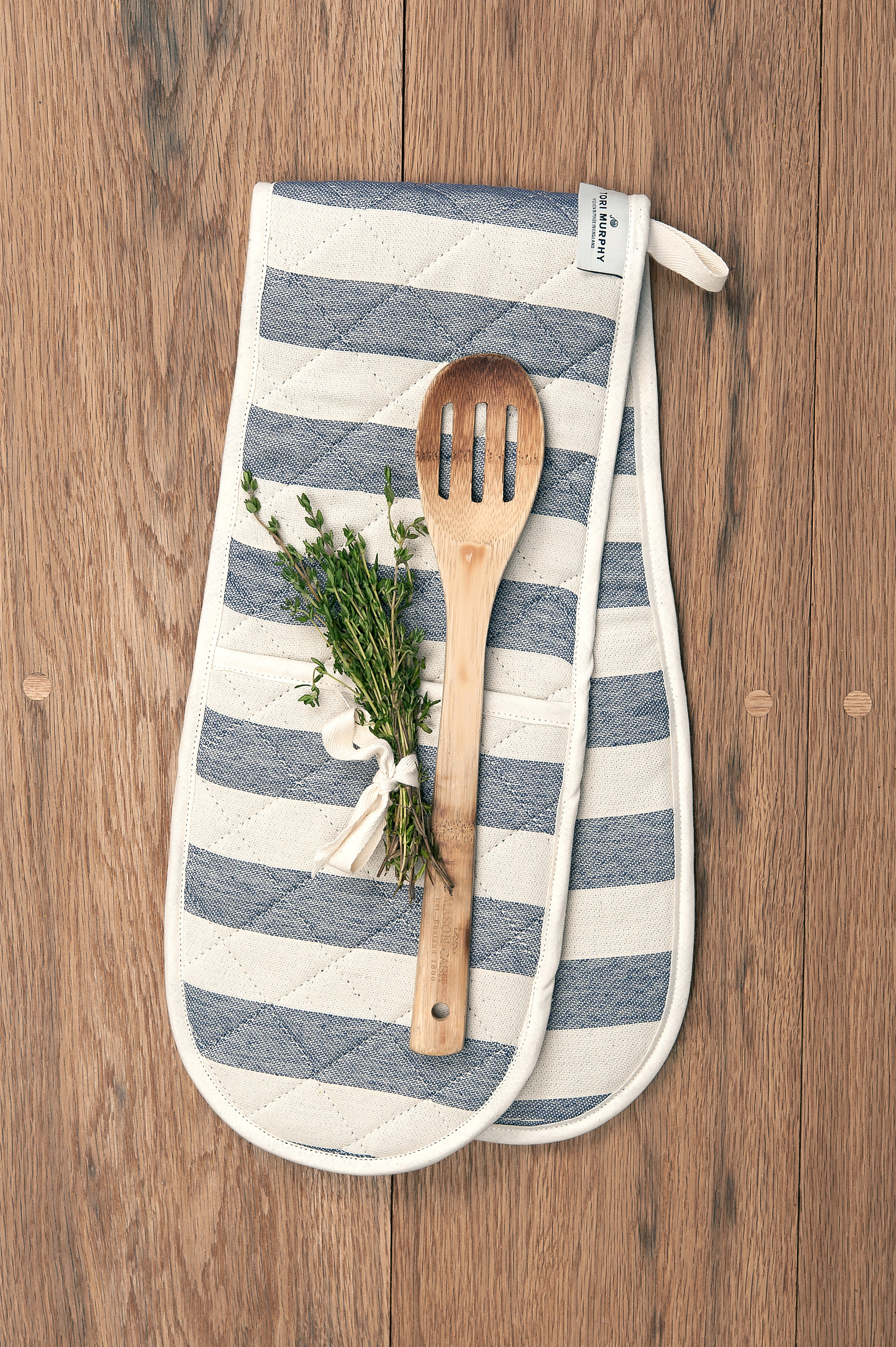 Fastnet Stripe Double Oven Glove Navy