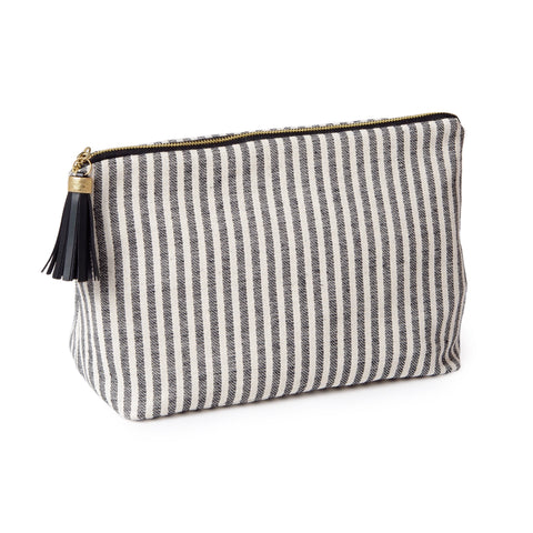 Harbour Stripe Large Wash Bag Black