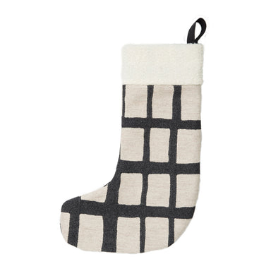 Kensal Check Christmas Stocking Black on Linen