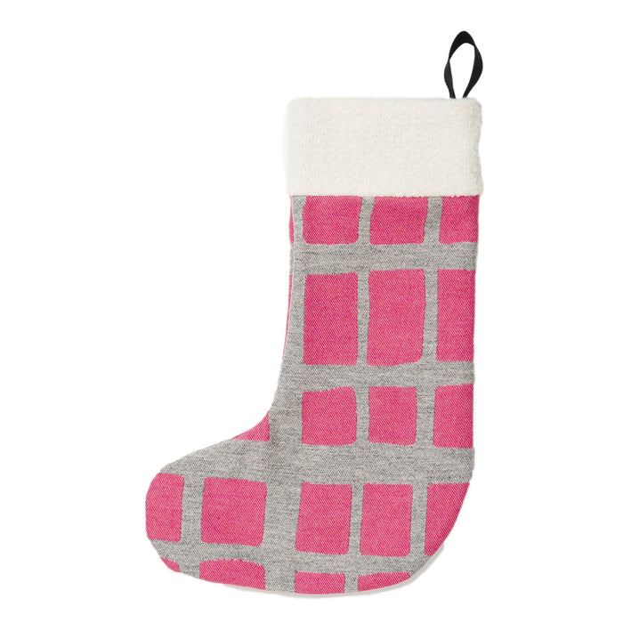 Kensal Check Christmas Stocking Grey on Hot Pink