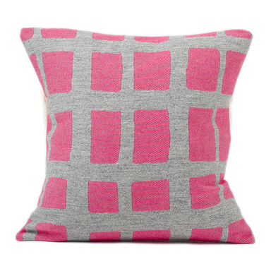 Merino Lambswool Cushion – Made in England – Kensal Check Grey on Hot Pink Cushion - Tori Murphy Ltd