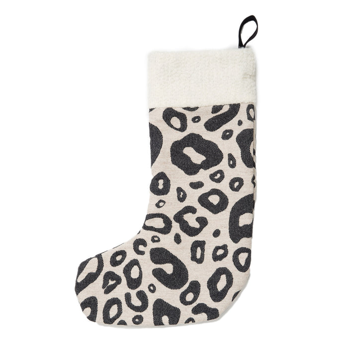 Hamilton Small Spot Christmas Stocking Black on Linen