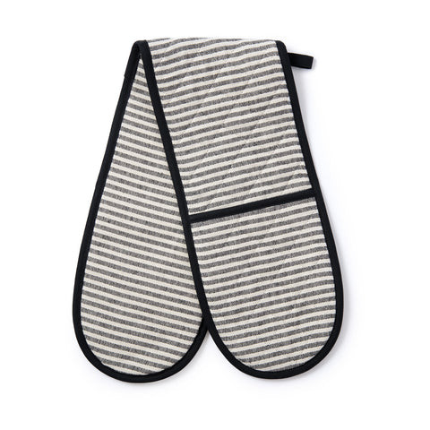 Harbour Stripe Double Oven Glove Black