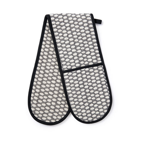 Elca Double Oven Glove Linen on Black