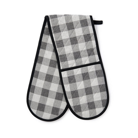 Woodhouse Check Double Oven Glove Black