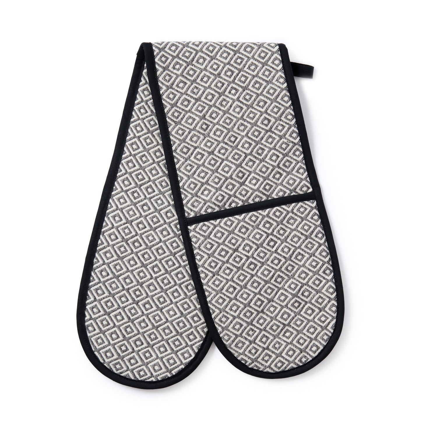 Broadway Double Oven Glove Linen on Black