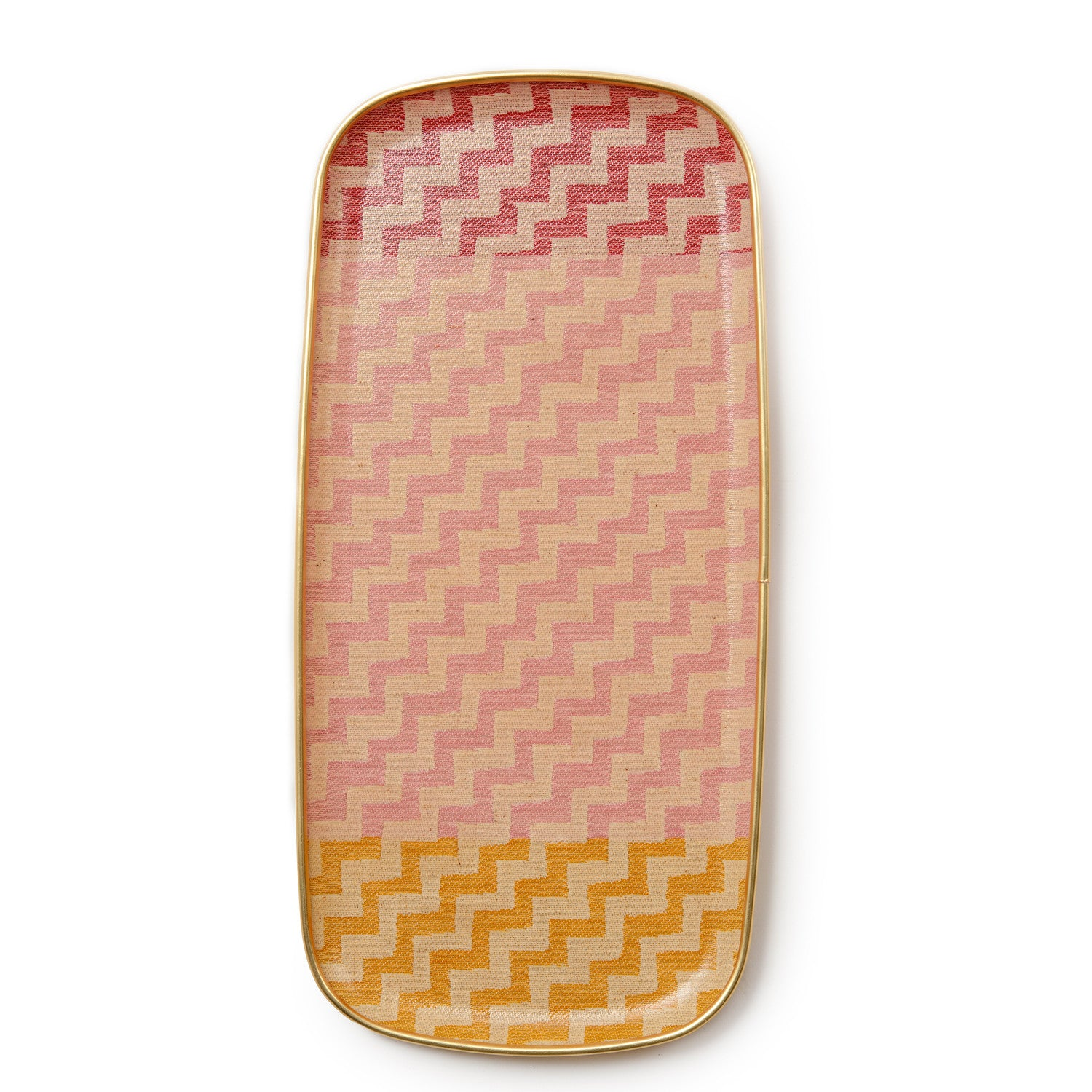 Climbing Chevy Rectangle Tray - Triple Colour Radish, Rose and Mustard