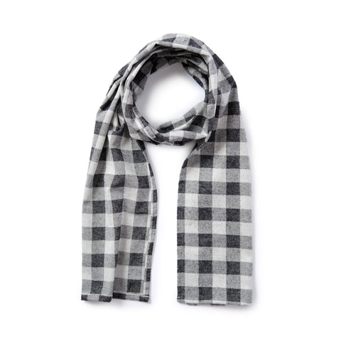 Woodhouse Check Brushed Cotton Scarf Black