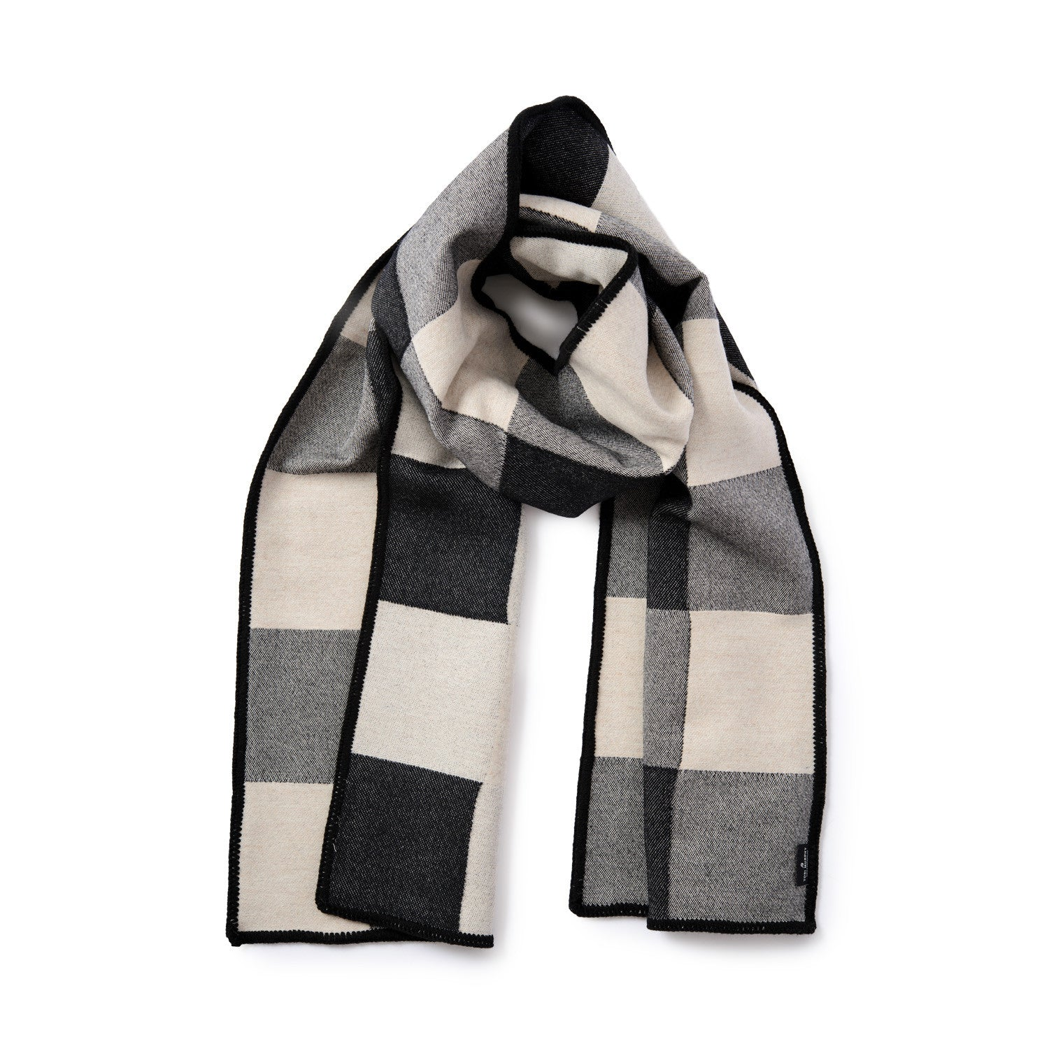 Woodhouse Check Merino Wool Scarf Black