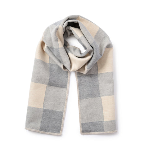 Woodhouse Check Merino Wool Scarf Grey