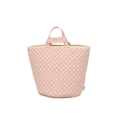 Cadogan Check Storage Basket Rose