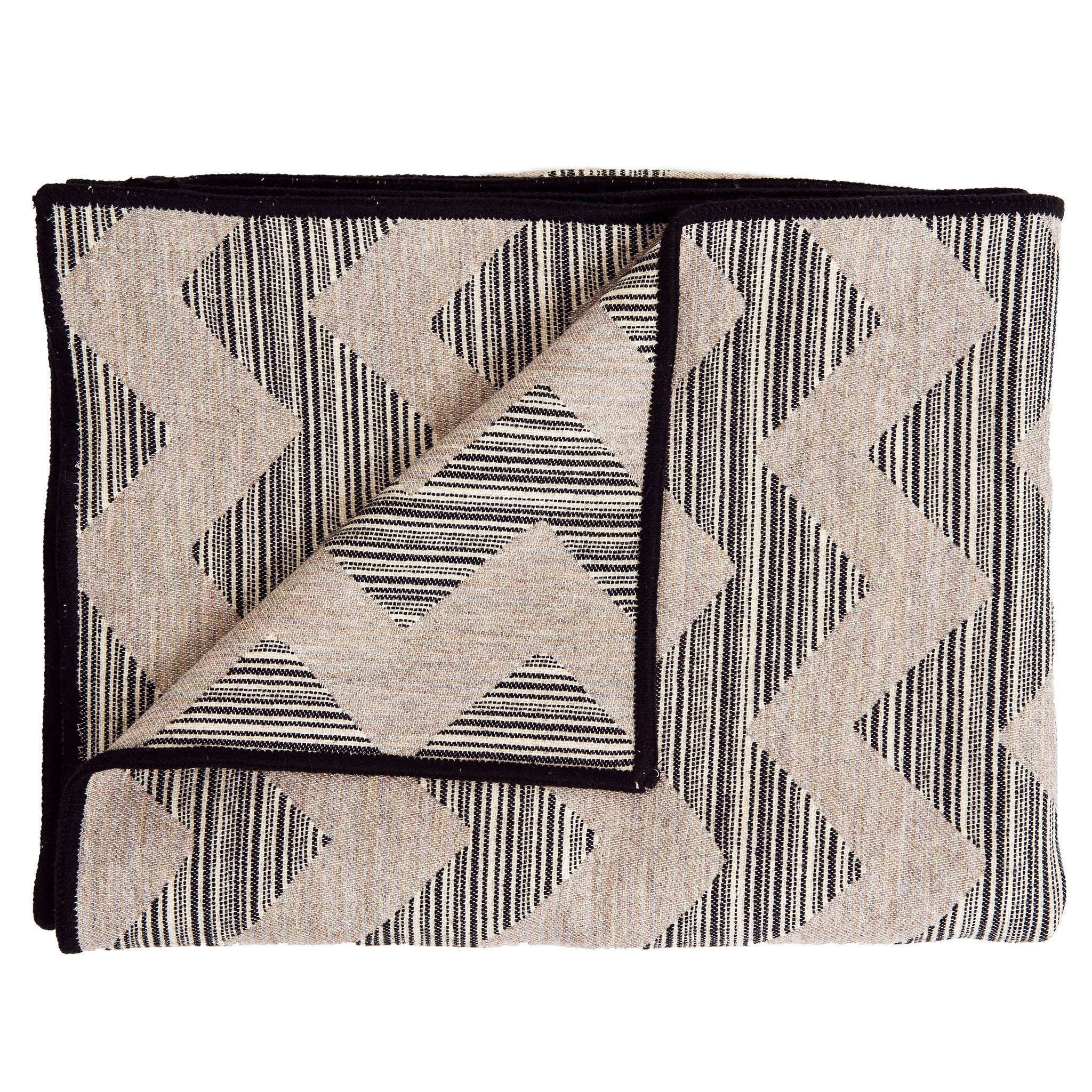 Merino Lambswool Throw - Chevy Strie Black, Pearl and Linen Throw - Tori Murphy Ltd