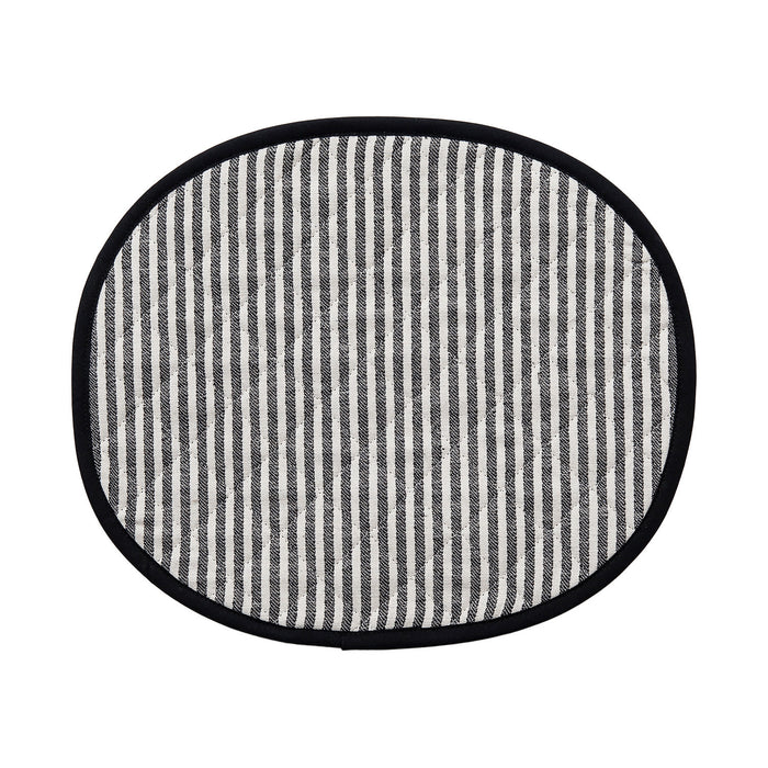 Harbour Stripe Placemat Black Ecru | Luxury Quilted Placemats