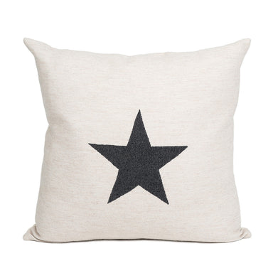 Merino Lambswool Cushion | Antares Star Black on Linen