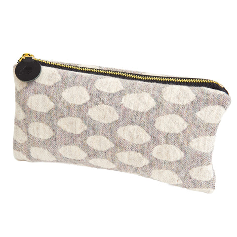 Merino Lambswool Zip Purse - Elca Linen on Pearl - Tori Murphy Ltd