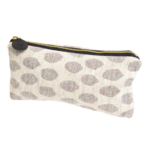 Merino Lambswool Zip Purse - Elca Pearl on Linen - Tori Murphy Ltd