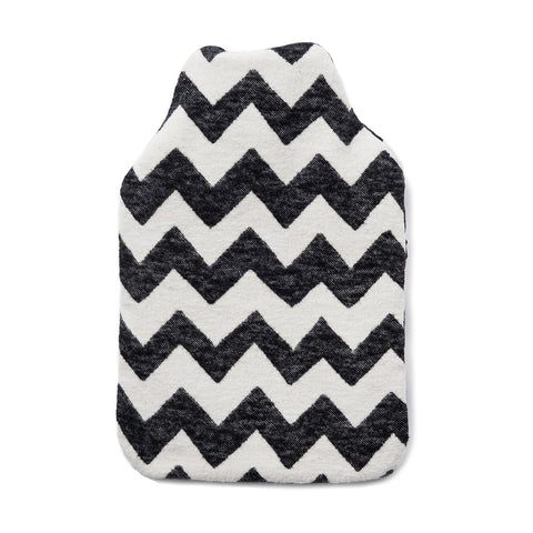 Brushed Cotton Hot Water Bottle | Chevy Black/Linen