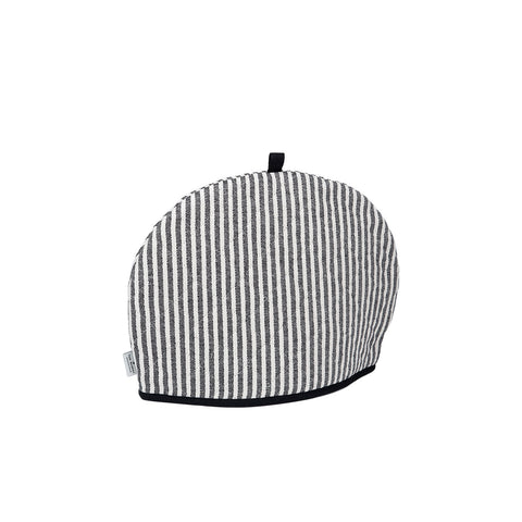 Harbour Stripe Tea Cosy Black Ecru | Designer Tea Cosies