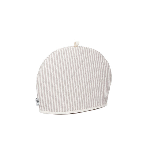 Harbour Stripe Tea Cosy Fawn Ecru | Designer Tea Cosies