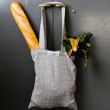 Broadway Cotton Market Bag - Black on Linen