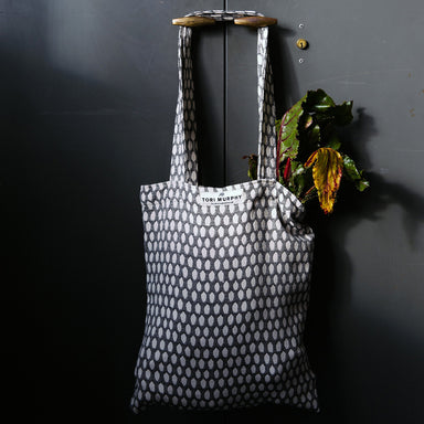 Elca Cotton Market Bag - Black on Linen