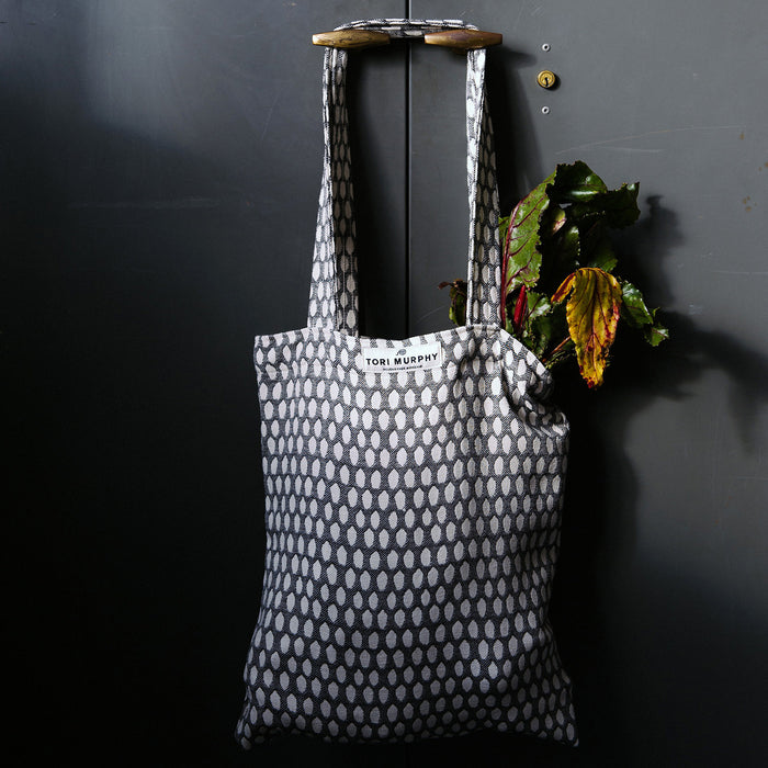 Elca Cotton Market Bag - Linen on Black