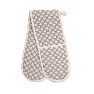 Cadogan Check Double Oven Glove Navy