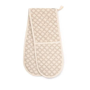 Cadogan Check Double Oven Glove Mushroom