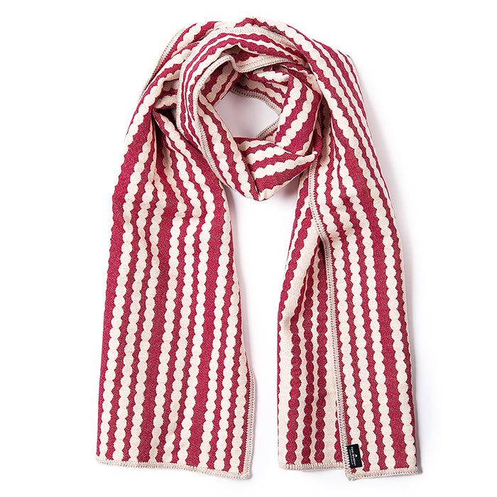 Scallop Stripe Reversible Merino Wool Scarf Raspberry