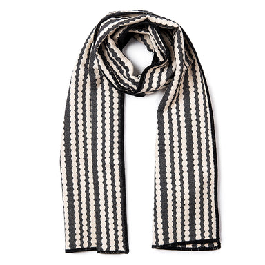 Scallop Stripe Reversible Merino Wool Scarf Black