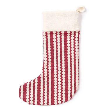 Scallop Stripe Christmas Stocking Raspberry