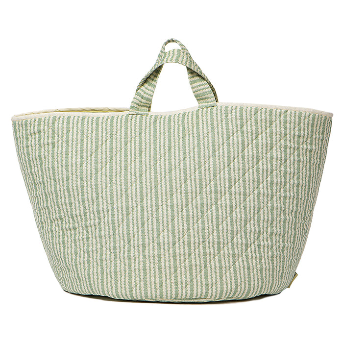 Scallop Stripe Storage Basket Olive
