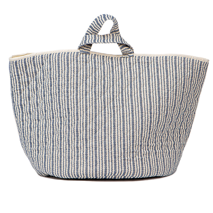 Scallop Stripe Storage Basket Navy