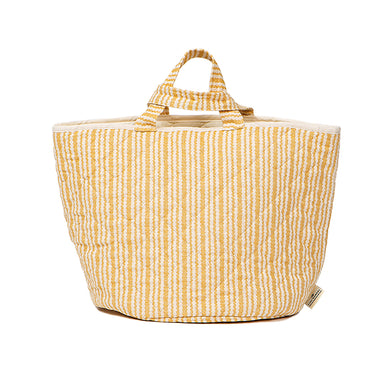 Scallop Stripe Storage Basket Mustard