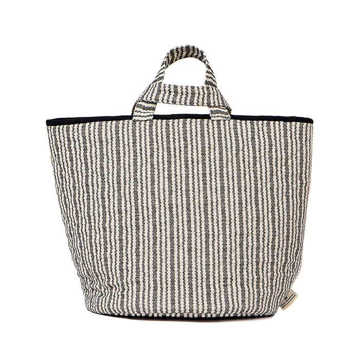 Scallop Stripe Storage Basket Black