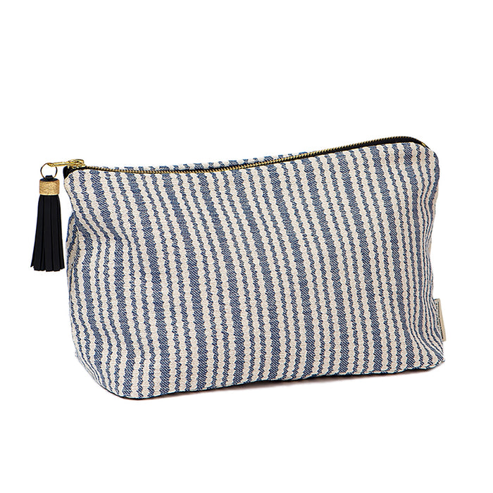 Scallop Stripe Large Wash Bag Navy
