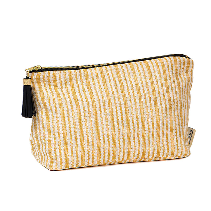 Scallop Stripe Large Wash Bag Mustard