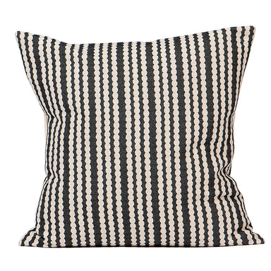Scallop Stripe Cushion Black
