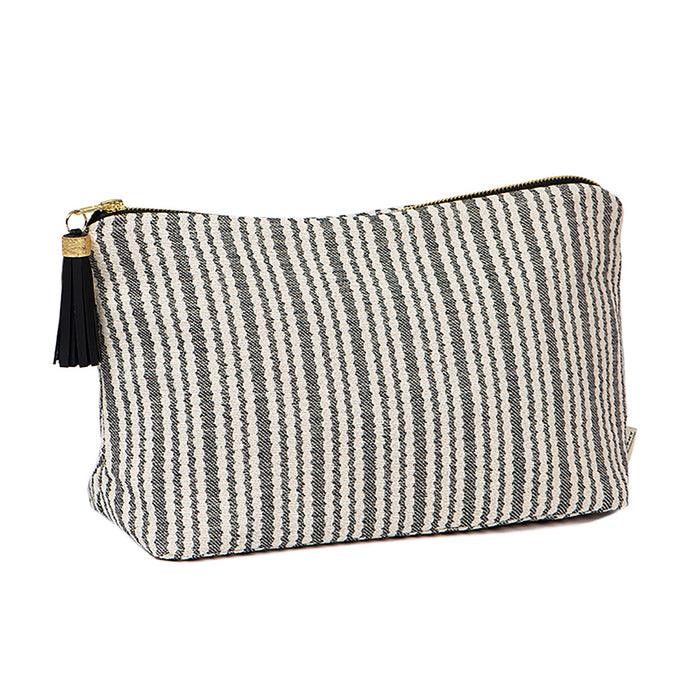 Scallop Stripe Large Wash Bag Black
