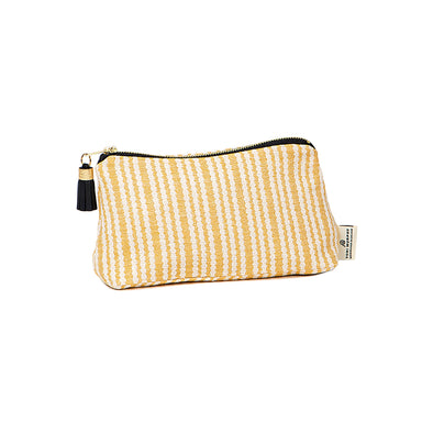 Scallop Stripe Small Wash Bag Mustard