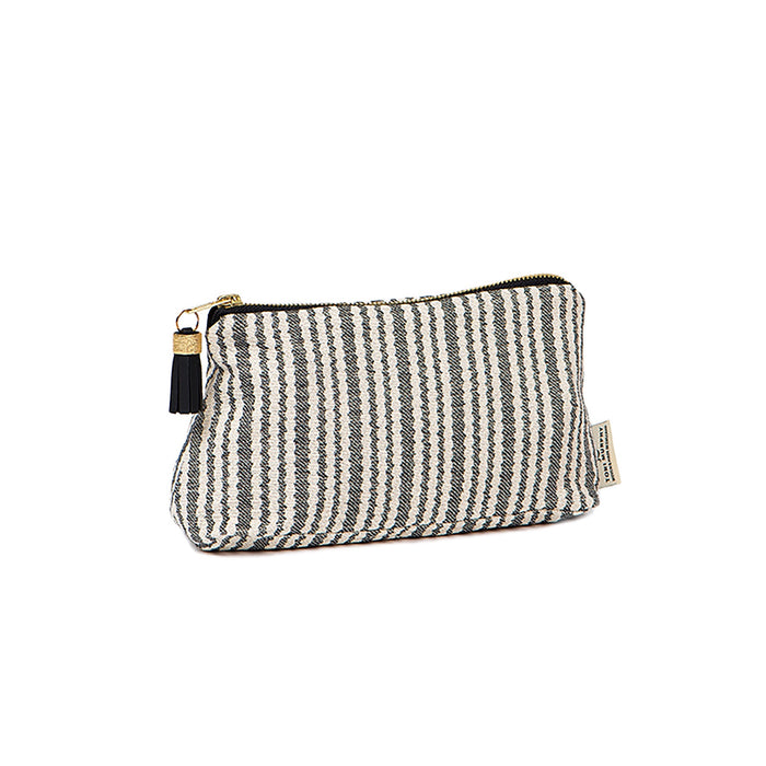 Scallop Stripe Small Wash Bag Black