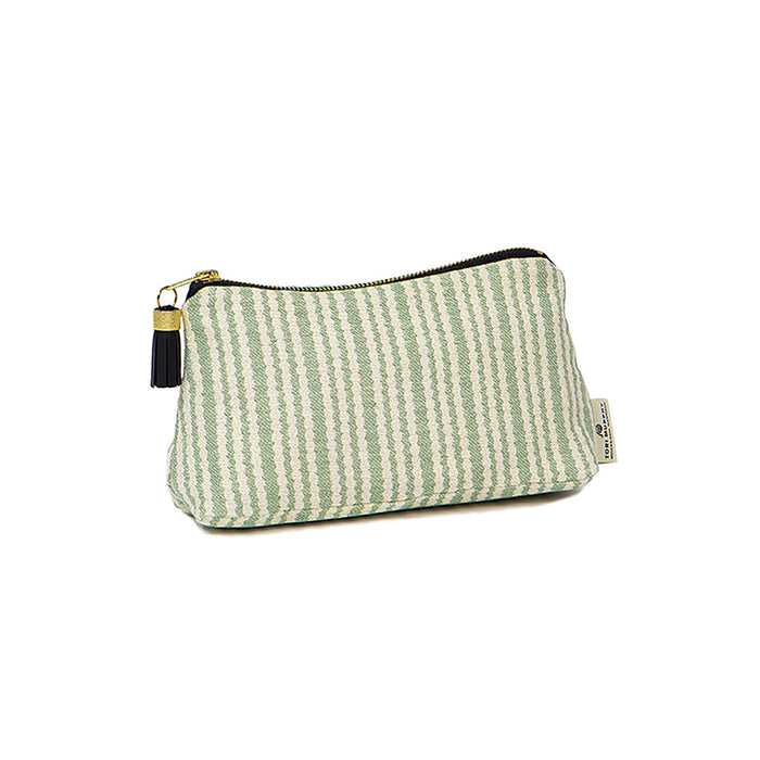 Scallop Stripe Small Wash Bag Olive