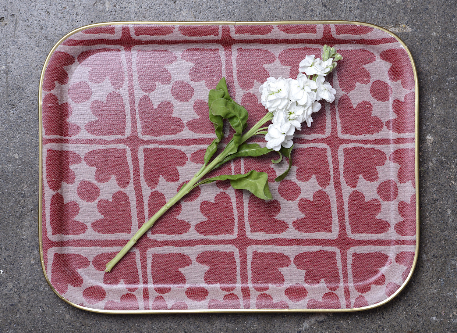 Bloom Large Rectangle Tray - Radish