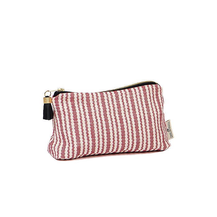 Scallop Stripe Small Wash Bag Claret