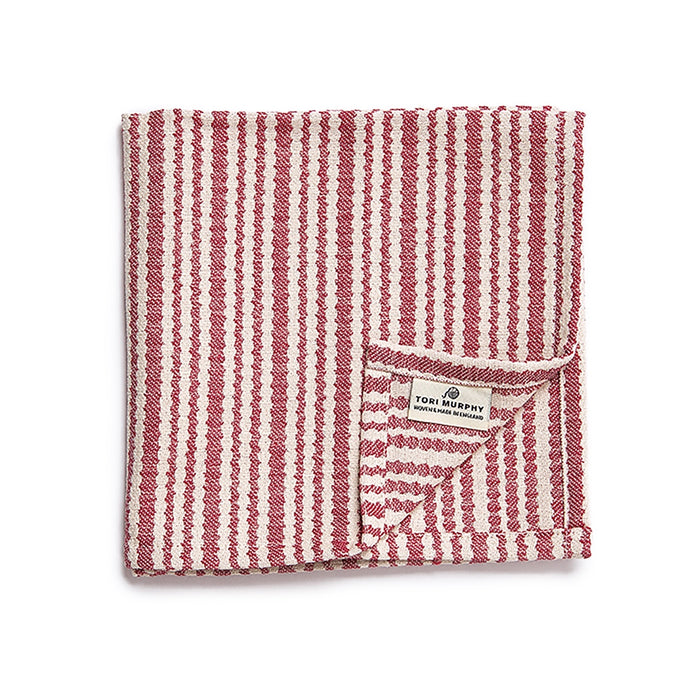 Scallop Stripe Napkin set of 4, Claret