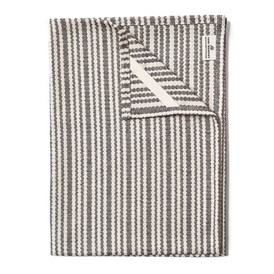 Scallop Stripe Tea Towel Black